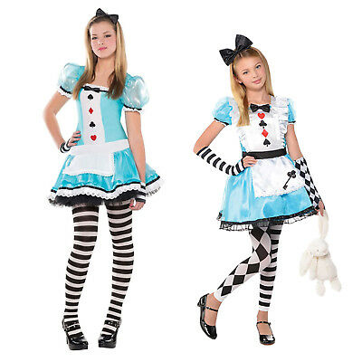 Christys Dress Up Girls Clever Alice In Wonderland Outfit Fancy Dress Costume