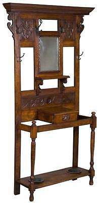 English Antique Oak Carved Hall Tree Stand Coat Rack w Drawer and Mirror