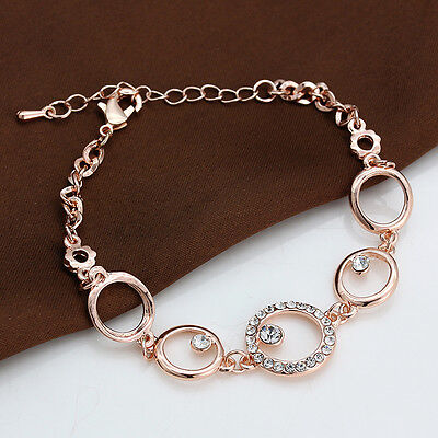 Awesome 18K Rose Gold Plated Circle Cubic Zirconia Crystal Chain Bracelet