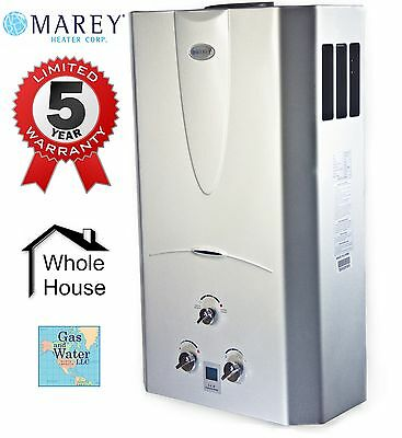Gas Water Heater Tankless 3.1 GPM (10L) Propane (LPG) - Digital Display by Marey