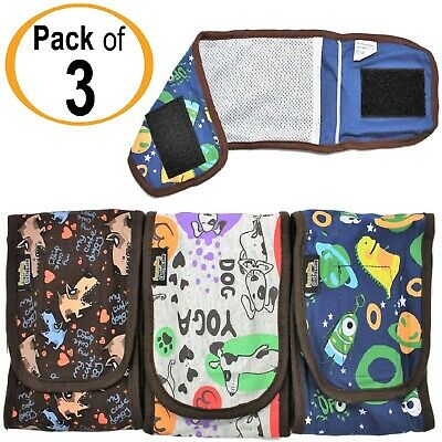 SET - 3pcs Diapers Male Boy BELLY BAND Wrap Reusable Washable For SMALL Dogs GBB