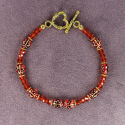 LADYBUG TOTEM BRACELET Ladybird Magick Symbol Good Luck Love Red Crystals Gold