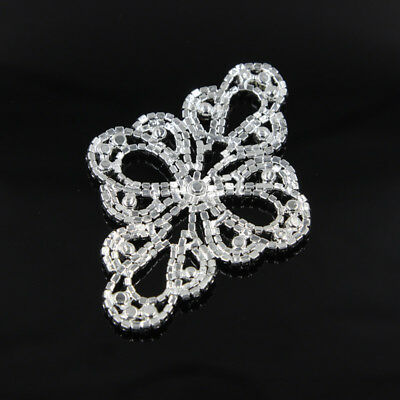1 Pc Clear Crystal Rhinestone Applique Trim Sewing For Dress Craft Gold Silver