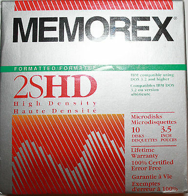 "MEMOREX 2SHD High Density 10pk 3.5"" Formatted IBM Microdisks New in Box"