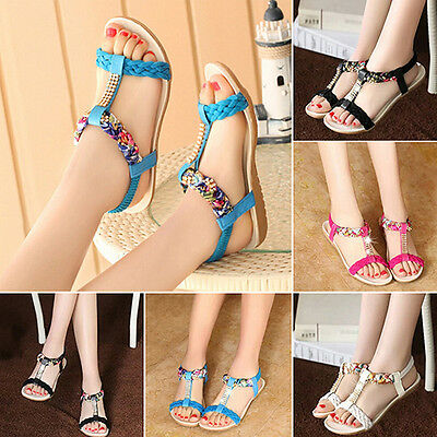 Women's Summer Faux Leather Wearable Anti-Slip Flat Sandals Beach Shoes Precious