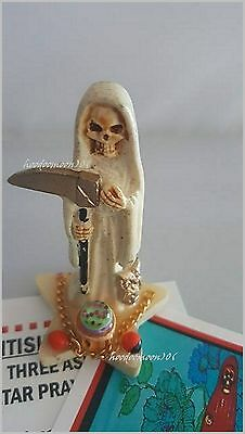 White Santisima Muerte Skull Grim Reaper Lady of Holy Death Statue Star Base