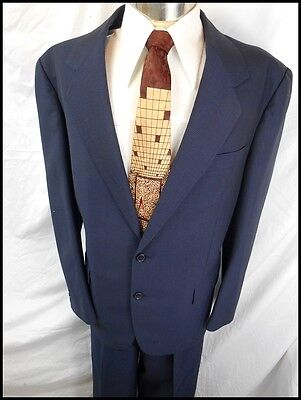 Vintage Trevira 2-Piece Blue Check Wool Blend Suit 40 Chest 33W Holland & Sherry