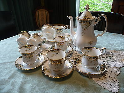"ROYAL ALBERT SCARCE ""ROYAL ASCOT"" PATTERN  COFFEE SERVICE c.1982 MADE IN ENGLAND"