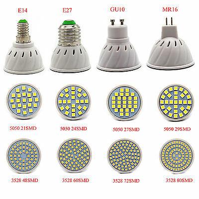 3528 5050 SMD LED Spotlight Bulb 3W/4W/5W/6W/7W E14/E27/GU10/MR16 220V Lights