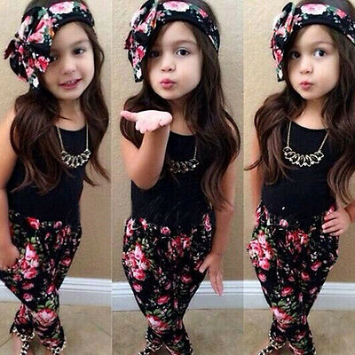 3pc Toddler Infant Girls Outfits T-shirt+Pants+Floral Headband Kids Clothes Set
