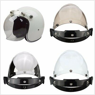 Motorcycle 3 Color Flip UP Down Helmet Bubble Wind Face Shield Visor Lens+Base
