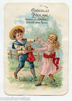 CHOCOLAT POULAIN . Enfants et poupée ancienne . Children and doll .