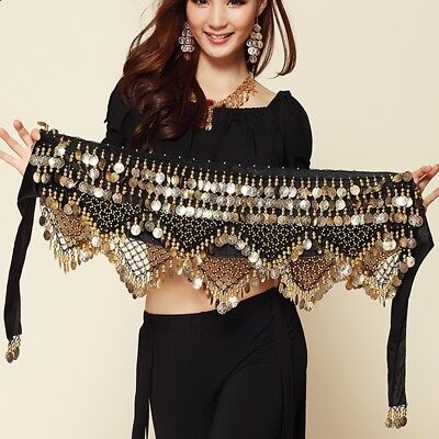 BLACK Tribal belly dance scarves hip Skirt costume dress up accessories 320#ECT
