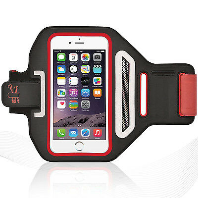 """iPhone 6/6S 4.7"""" Red Lycra Armband Running Reflective CreditCard Holder"""