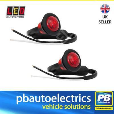 PAIR of LED 181RME Trailer Rear Round Marker Lights / Lamps RED 12 / 24 Volt