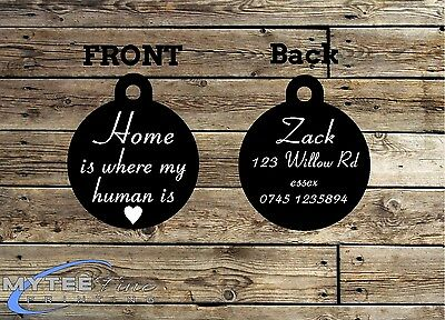 Funny Pet Tags Dog ID Home Is where My Human Is Personalized Pet Charm tag ID
