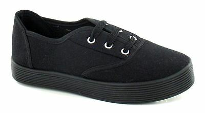 Boys Girls Trainers Kids Childrens Canvas Casual Shoes Pumps Lace Up Plimsolls