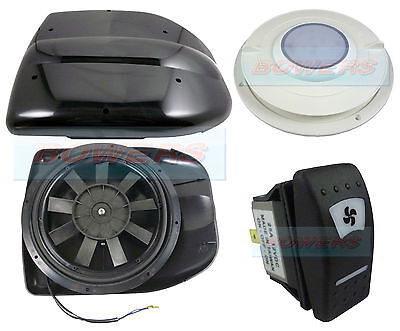 Low Profile Powered Motorised Roof Fan Air Vent Extractor Campervan + Led Light