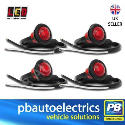 4 x LED Autolamps 181RME Trailer Rear Round Marker Lights / Lamps RED 12/24v
