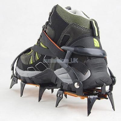12-teeth Point LONG SPIKE Ice Snow Crampons Shoes Grip Grippers Adjustable