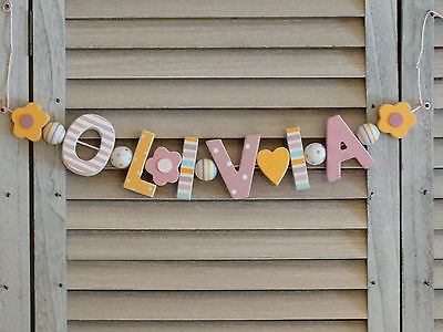"""""""olivia"""" Wooden Letters Letter Door Name Decoration Personalised Shabby Chic"""