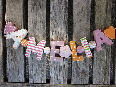 """""""amelia"""" Wooden Letters Letter Door Name Decoration Personalised Shabby Chic"""