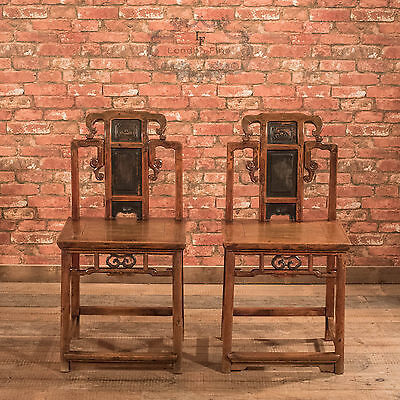 Antique Pair of Hall Chairs, Chinese Elm, Lacquered Dining Seats Oriental c.1900
