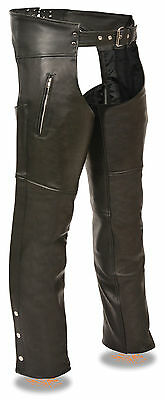 Men's Premium Leather Motorcycle Chap w/ Zippered Thigh Pockets - Fully Lined
