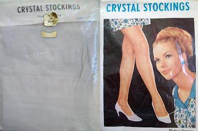1 x NYLONS - CRYSTAL STOCKINGS - GRAU - 60/70er - GR. S-M