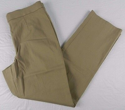 WOMANS PANTS = JM COLLECTION petite brown stretch pull on pants = 14P = KN86