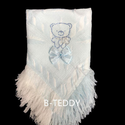 Beautiful Baby Boy's Shawl with Sparkling Rhinestone and Ribbon Bow/Blue/White