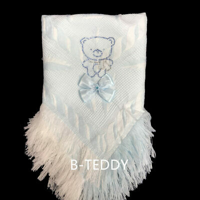 Stunning Baby Boy's Shawl with Sparkling Rhinestone and Ribbon Bow/Blue/White