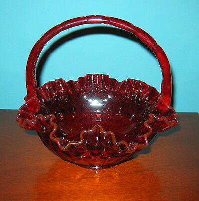 Gorgeous  RED GLASS  BASKET/ Candy Bowl- Rich translucent Red Color