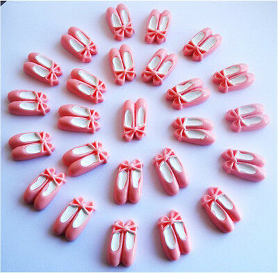 Wholesale 20 Gorgeous Pink Ballerina Slippers Kitch Cabochon Flatback -Fast P&P