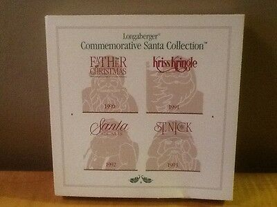 Longaberger Pewter 1993 Christmas Santa Collection Ornaments / Tie-Ons