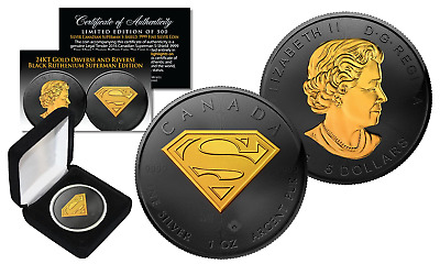 2016 CANADIAN $5 SUPERMAN Pure 1 oz. Silver Coin BLACK RUTHENIUM GOLD EDITION