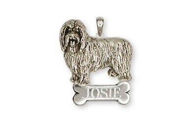 Bearded Collie Personalized Pendant Handmade Sterling Silver Dog Jewelry BCL1-NP
