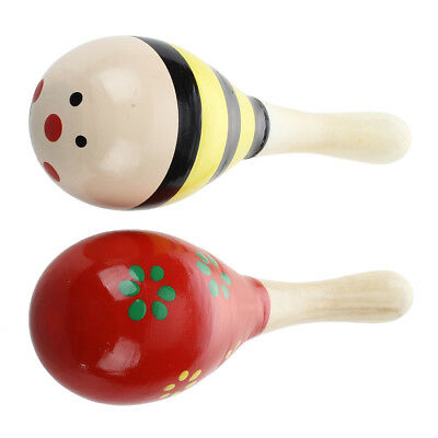 2 X Wood Maracas Musical Instrument Toy For Kids WS