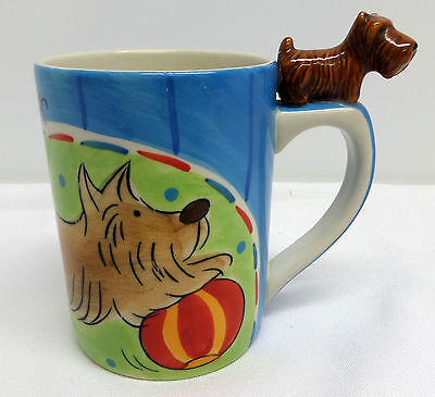 Scottish Terrier Coffee Mug with Dog Figurine on Handle