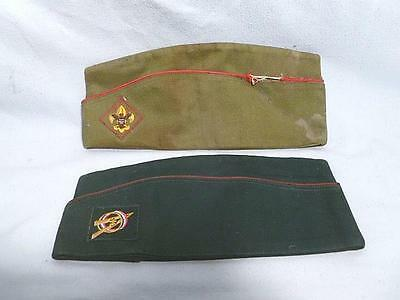 2 Vintage BSA & Explorer Boy Scouts of America Sandforized Garrison Caps 7-71/8