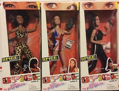 "Nib Vintage Spice Girls Girl Power 11"" Doll Set Of All 5 Galoob Toys 1997"