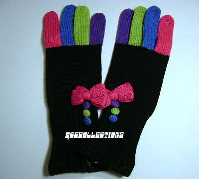 SO Girl's Junior's Multi-Color Colorful Knit Bow / Buttons Winter GLOVES NWOT