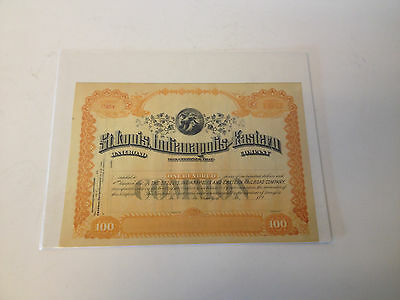 Antique The St. Louis Indianapolis & Eastern Railroad Unissued Stock Certificate