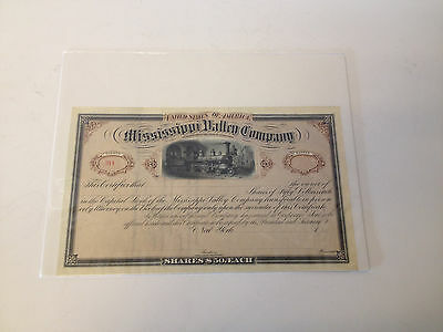 Vintage Antique Mississippi Valley Company Unissued Stock Certificate