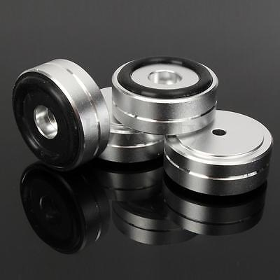 4Pcs 40mm x 15mm Aluminum Round Speaker Isolation Feet Stand Pads For HIFI DAC