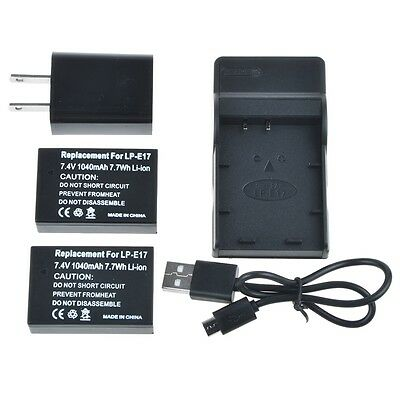 Generic 2x 1040mAh LP-E17 Battery + Charger Combo For Canon EOS Rebel T6i T6s M3