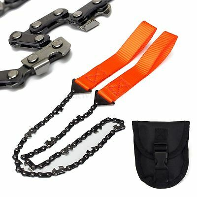 Survival Orange Hand Chain Saw Emergency Camping Bushcraft Kit Tool Gear w/Pouch