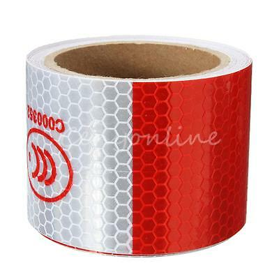 3M 5cm Red White Reflective Warning Conspicuity Tape Waterproof Film Sticker New