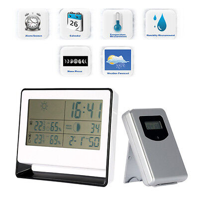 NEW RF Multi-functional Digital Weather Station Clock Outdoor/Indoor Thermometer