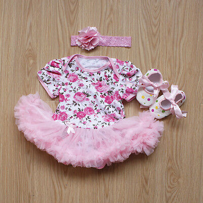 3pcs Flower Romper Dress Jumpsuit Outfits Clothes For Newborn Baby Girls Gifts